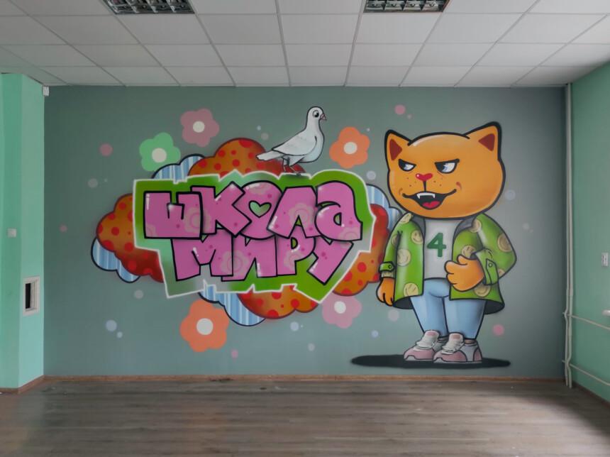 Мурал в Луцькій гімназії №4 імені Модеста Левицького